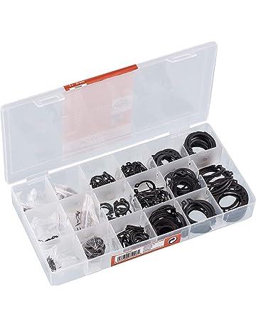 225pcs Assortimento anelli di arresto radiale C-clip interno e esterno a scatto anello di sicurezza anello assortimento scatola set 18 dimensioni