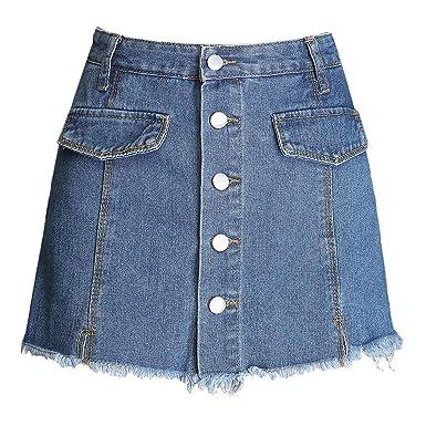 aa5050690b3 Itemnew Women's Mid Rise Frayed Raw Hem Button Front Denim Shorts Skirt  Skort at Amazon Women's Clothing store: