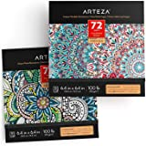 ARTEZA Coloring Books for Adults, Floral & Mandala Designs, 2, 144 Sheets Total, 100 lb, 6.4x6.4 Inches, for Anxiety, Stress