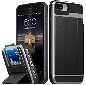 VENA Wallet Case Compatible with iPhone 8 Plus, iPhone 7 Plus, vCommute (Military Grade Drop Protection) Flip Leather Cover Card Slot with Kickstand Compatible w/iPhone 8 Plus and 7 Plus (Gray/Black)