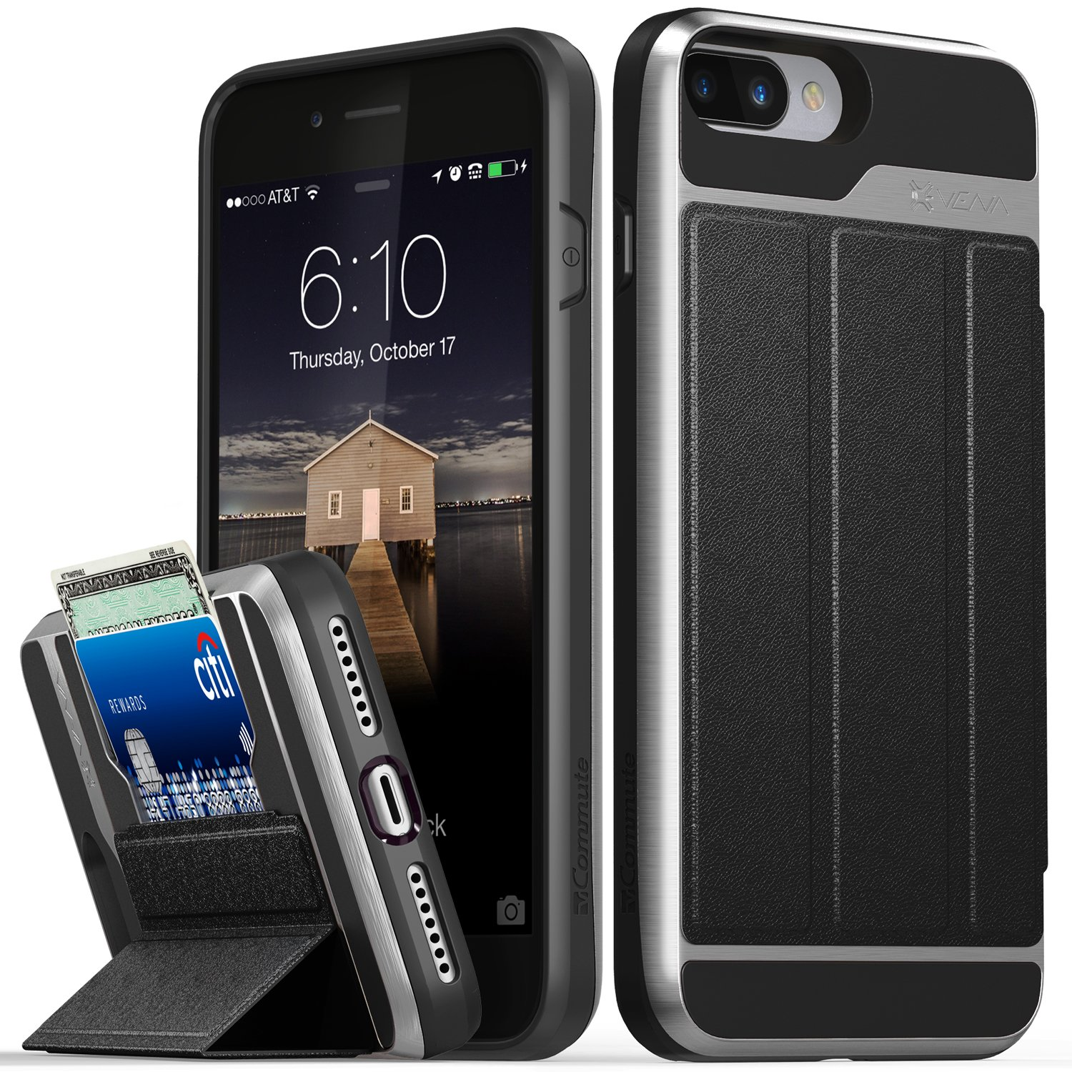 iPhone 8 Plus Wallet Case, iPhone 7 Plus Wallet Case, Vena [vCommute][Military Grade Drop Protection] Flip Leather Cover Card Slot w/KickStand for Apple iPhone 8 Plus / 7 Plus (Space Gray/Black)
