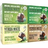 Organic Yerba Mate Tea Bags - Variety Pack - Mate Cocido - Organic Vitamin Packed Natural Detoxifier and Fat Burner - 4 boxes x 20 bags each box (2 grams per bag)