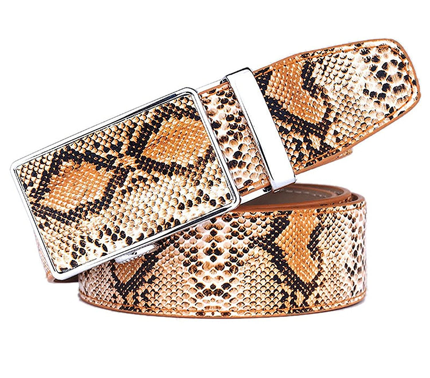 OnIn Fashion Genuine Leather Snake Grain Belt for Men Automatic buckle Strap Men Beltsigh Quality