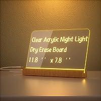 Chulovs Akrylowa zmywalna na sucho, lampka nocna, przezroczysta tablica na notatki, akrylowa tablica 30,48 x 20,32 cm…