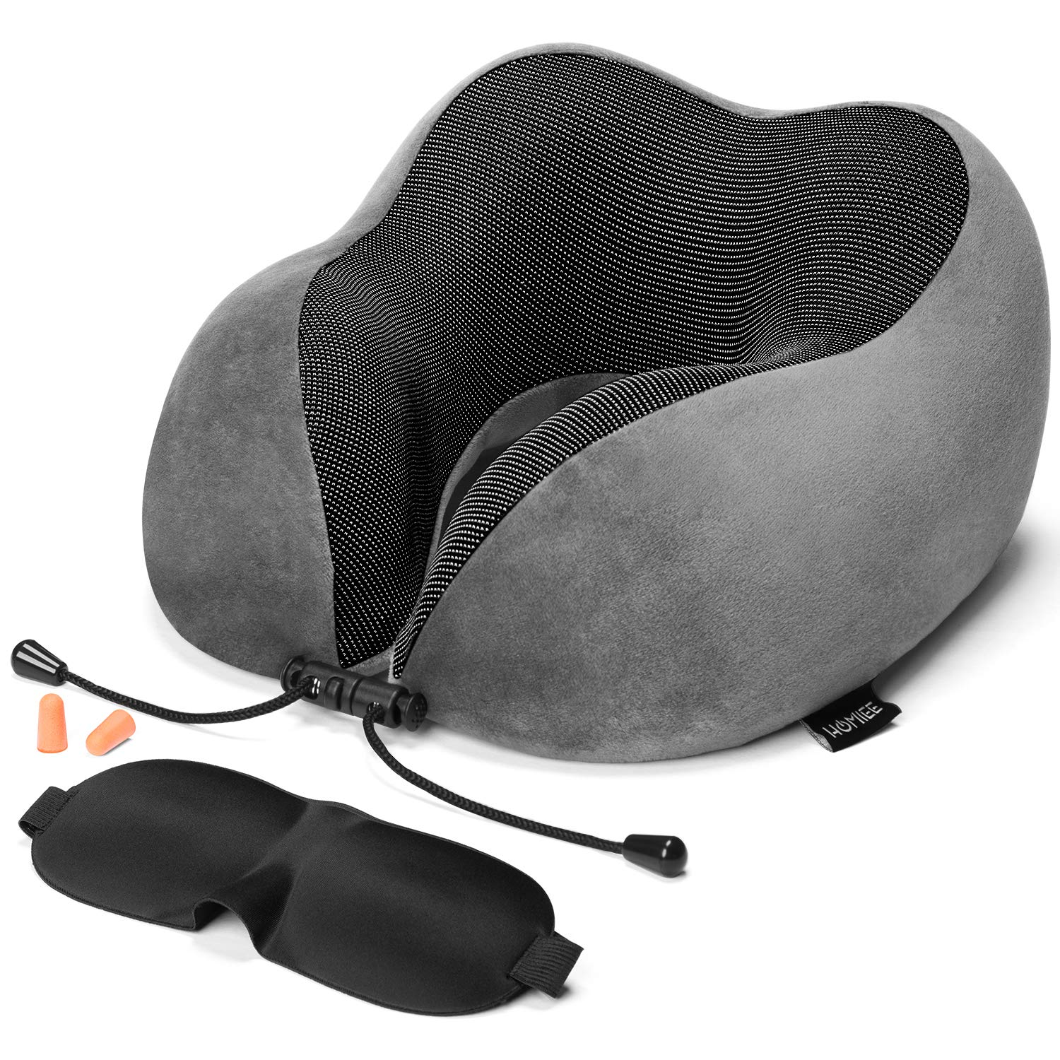 HOMIEE Travel Pillow, Memory Foam Neck Pillow, 360° Head & Neck Support Travel Cushion Essentials, Including Sleep Mask, Earplugs, Ideal for Sleeping, Travelling, Airplanes and Flights TP1001BK