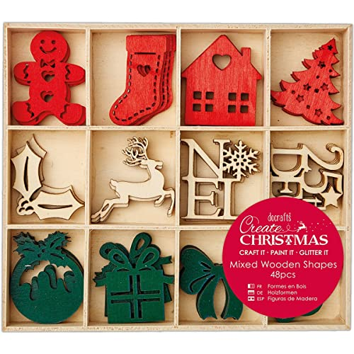 docrafts create christmas 4cm mixed wooden shapes pack of 48