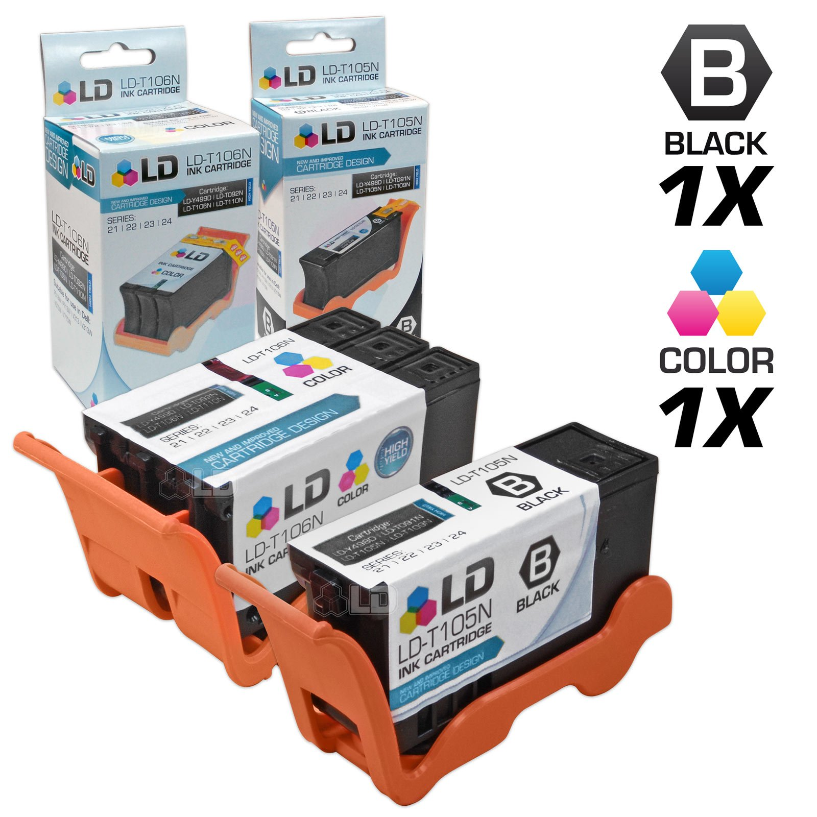 LD Compatible Set of 2 (Series 23) High Yield Black & Color Ink Cartridges for the Dell V515w Printer: 1 Black T105N, 1 Color T106N