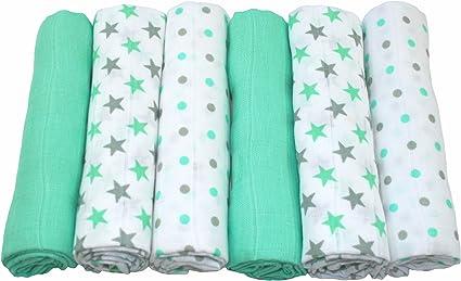 MuslinZ - Juego de 6 paños de muselina para bebé (100% algodón, 70 x 70 cm), color verde: Amazon.es: Bebé