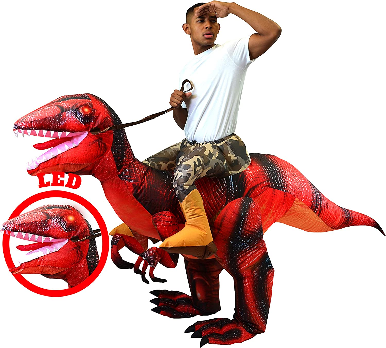 Spooktacular Creations Inflatable Raptor Riding a Raptor Dinosaur Deluxe Costume - Adult (Blue): Clothing