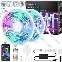 20M Tiras LED RGB 5050 Música, HOVVIDA Bluetooth Luces de Tiras LED 12V para Habitación, Controladas por APP, IR Control…