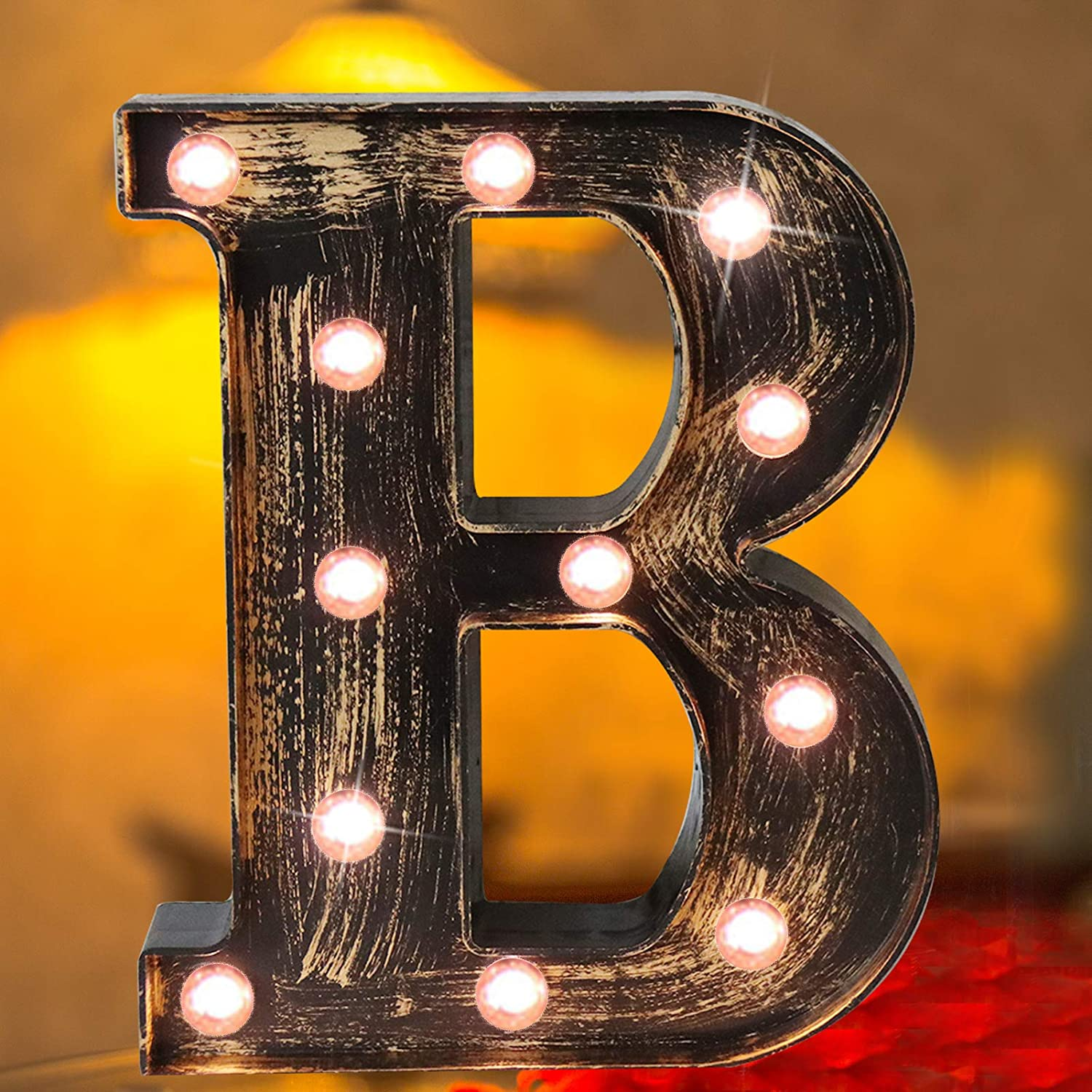 Elnsivo Vintage LED Marquee Letter Lights Light Up Industrial 26 Alphabet Name Signs Bar Cafe Initials Decor for Birthday Party Christmas Wedding Events(Letter B)
