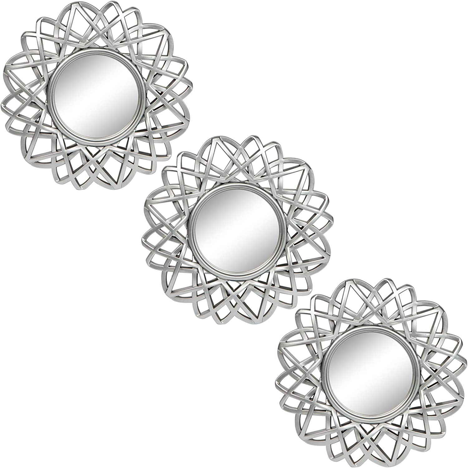 Small Round Mirrors for Wall Decor Set of 3 - Great Home Accessories for Bedroom, Living Room & Dinning Room (M005)