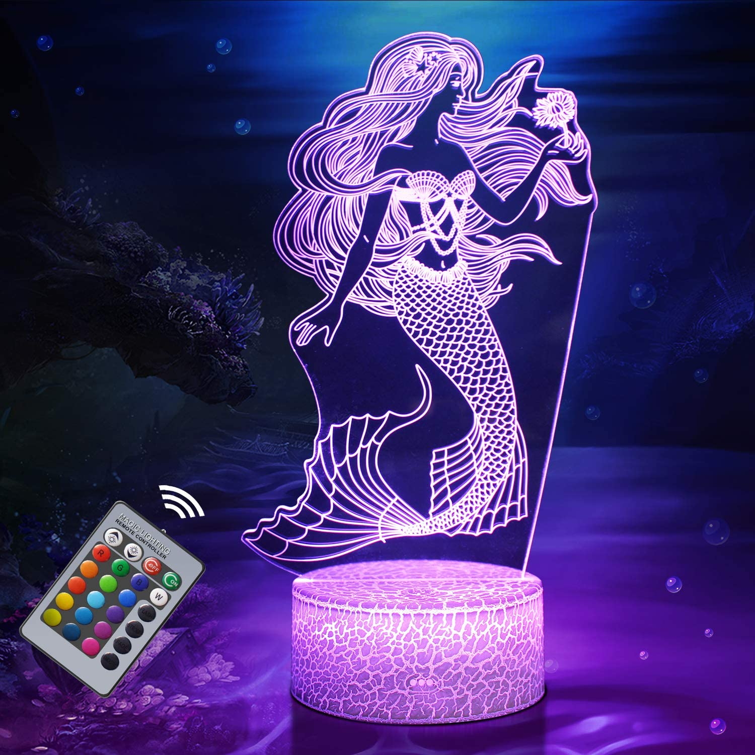 Mermaid Night Light for Kids, Mermaid Toys for Girl, 3D Light 16 Colors Changing Night Lamp with Remote Control, Mermaid Gift Birthday Gifts for Girls Women