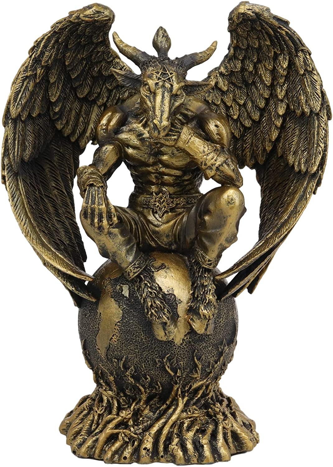 "Ebros Sabbatic Goat The Thinker Baphomet Sitting On The Globe Statue 7.75/"" Tall"
