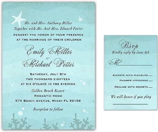 Amazon Com 100 Wedding Invitations Beach Under The Sea Vintage Design Starfish Envelopes Response Cards Set Kitchen Dining