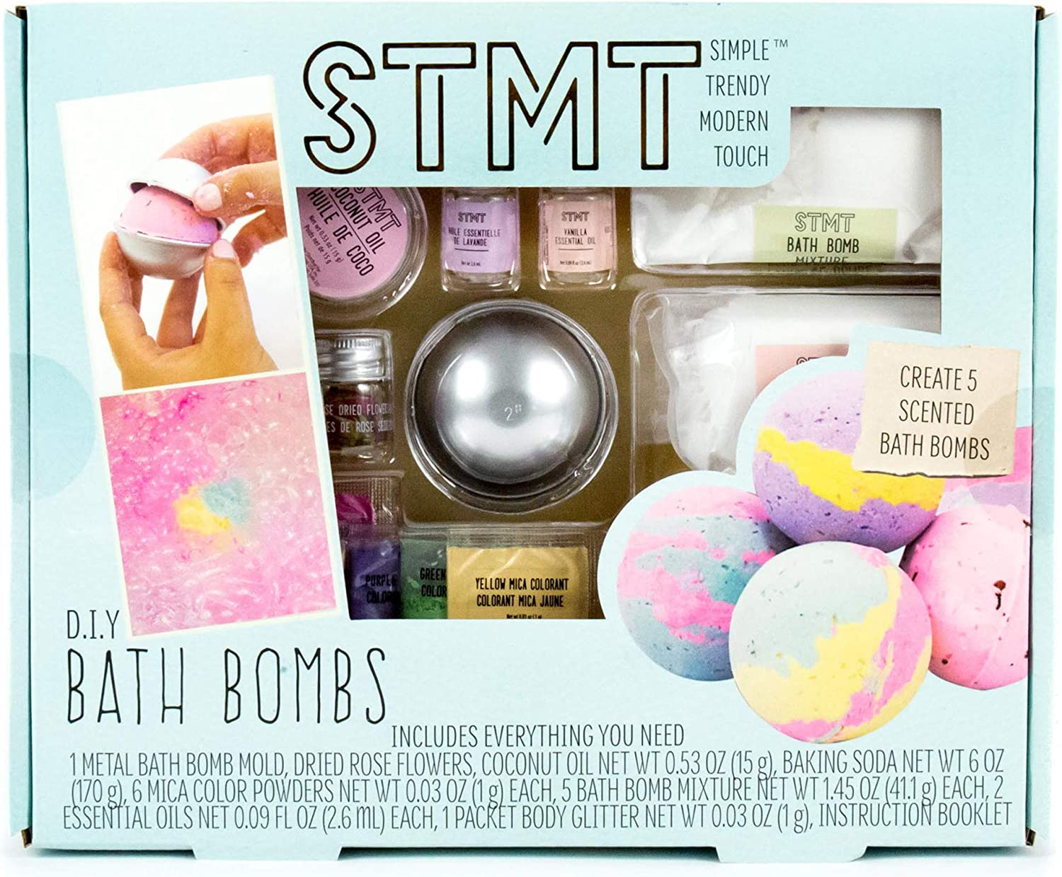 An image of a Bath bomb making set in a turquoise-colored box.