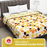Divine Casa Twilight Abstract 110 GSM Microfiber All Weather Double Dohar - Orange and Yellow