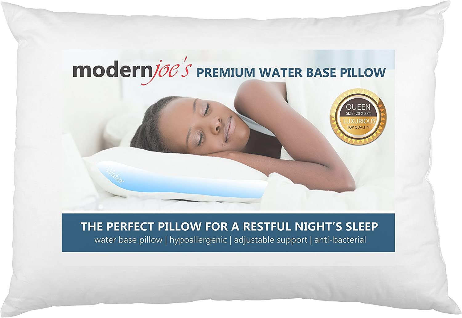 MODERNJOE'S Luxurious Queen Size Water Pillow (20x28), Adjustable Waterbase Pillow