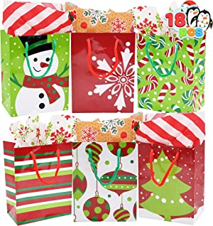 18 Christmas Holiday Goody Paper Gift Bags 4.3x5.75x2.5 for Xmas Wrapping Gift-Giving, Classroom Party Favors