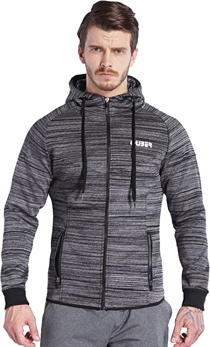 c74f2843d7372 Amazon.com  Ouber Men s Heavyweight Zip Up Hoodie Gym Workout Casual ...