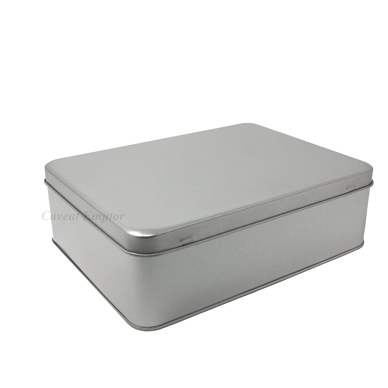 Boxance Large Metal Tin with Hinged Lid Capacity 2.2 Litre Biscuit Tin Storage Box Large Retro Metal Tin Tins Cookie Biscuit Pastry Cookies Pastry Bread Bin Cutter Metal Tin Silver