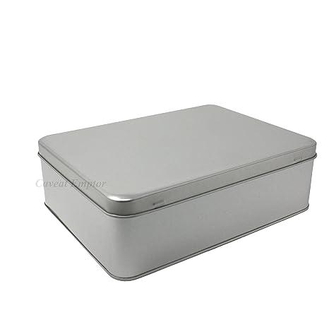Boxance Caja De Metal Grande Con Tapa Bisagras Contenido 2,2 Litros - Almacenamiento Tarro Para Galletas Retro Galleta Pastelería Estaño Plata Lata ...