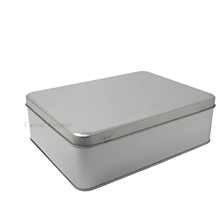 Boxance Large Metal Tin With Hinged Lid Capacity 2.2 Litre Biscuit Tin Storage  Box Large Retro