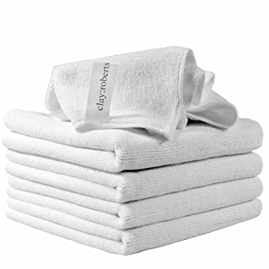 Clay:Roberts Microfiber Cleaning Cloths, 5 Pack, White, All-Purpose Dust Cloths