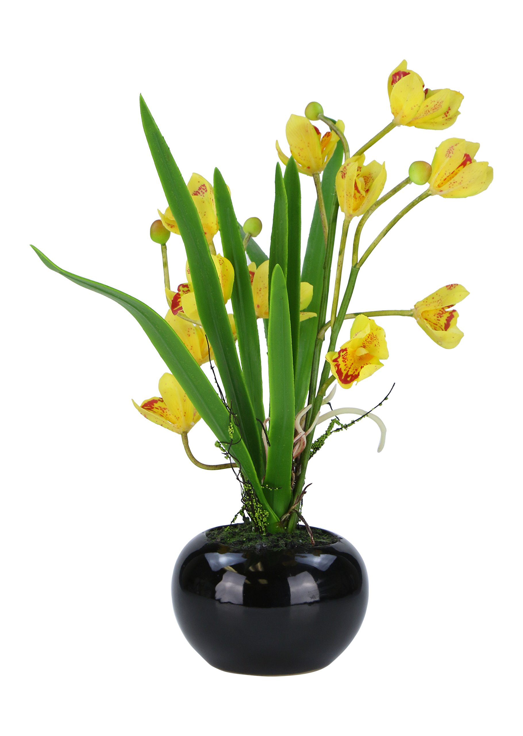 Gorgeous And Unique 18 Inch AMERIQUE Orchid Artificial Silk Flower Plant, with Fancy Decorative Pot, Feel Real Technology, Super Quality, Designed and Assembled in USA