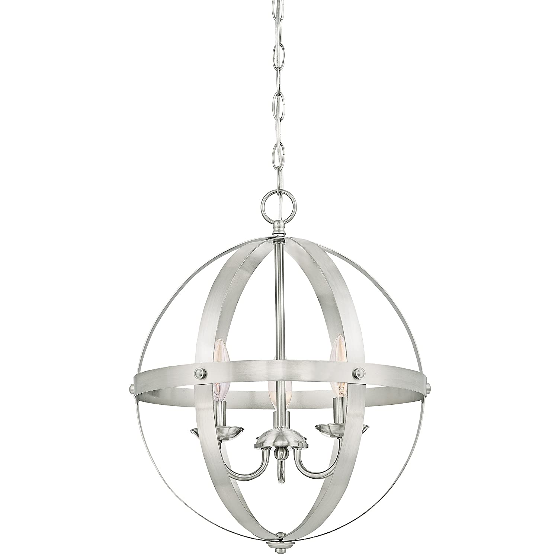 Satin Nickel Pendant Light Part - 26: 6341900 Stella Mira Three-Light Pendant, Brushed Nickel Finish - -  Amazon.com