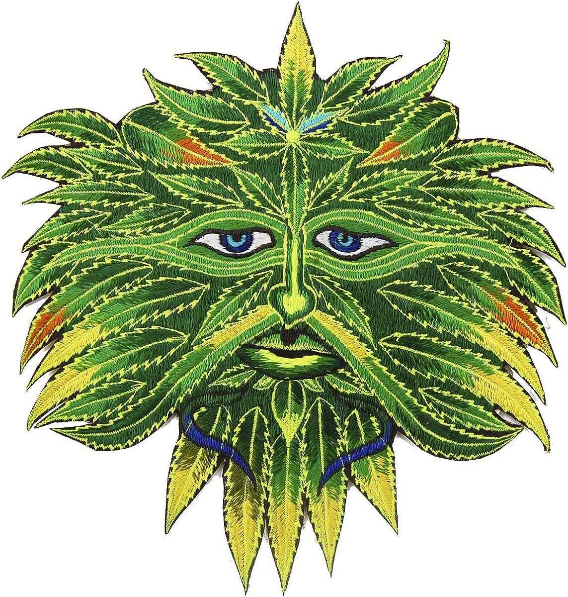 ImZauberwald Marihuana Spirit ~ 17,78 cm hecho a mano cannabis cáñamo bordado Ganja Art