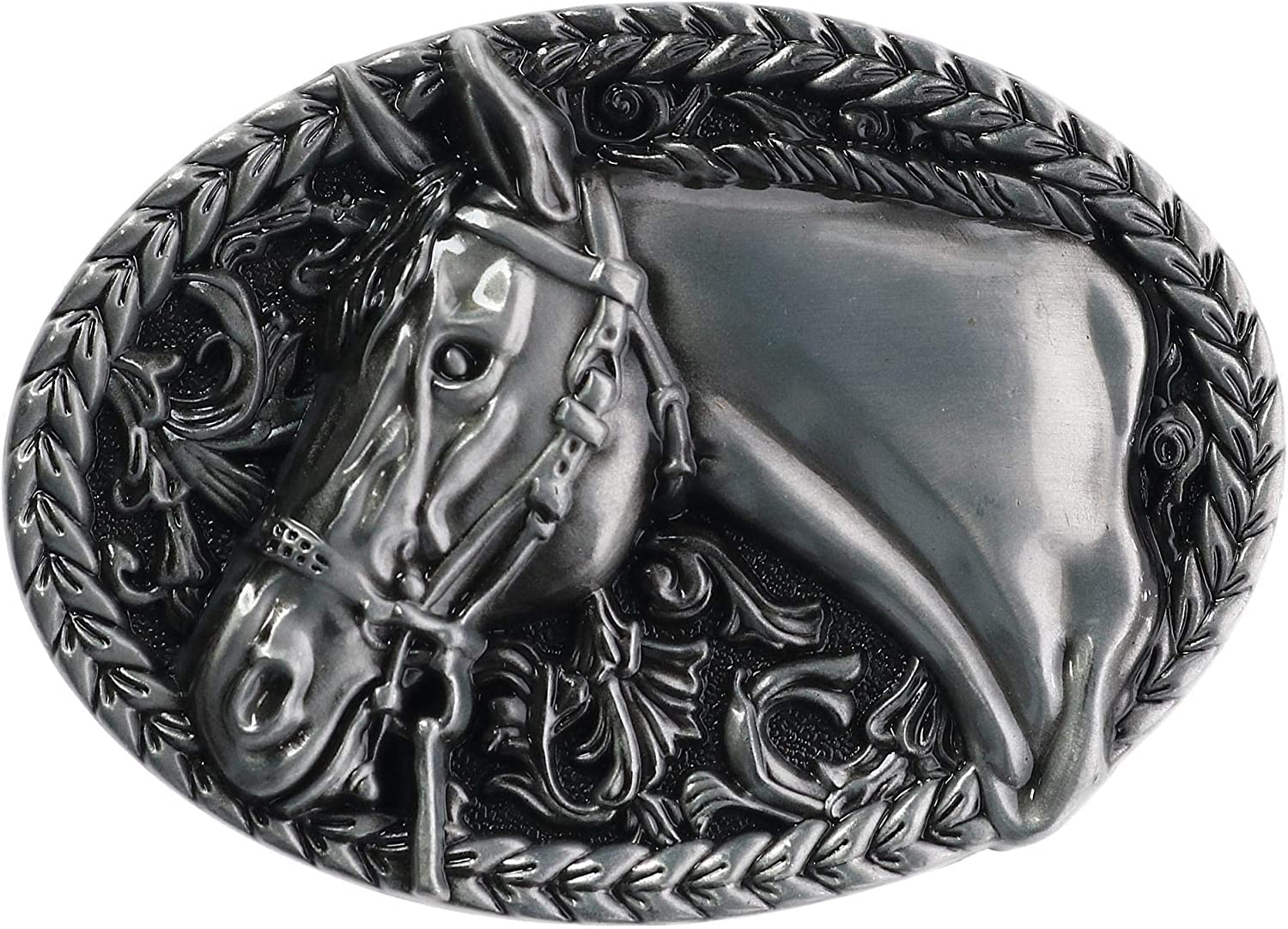 CTM Engraved Horse Belt Buckle, Silver: Clothing