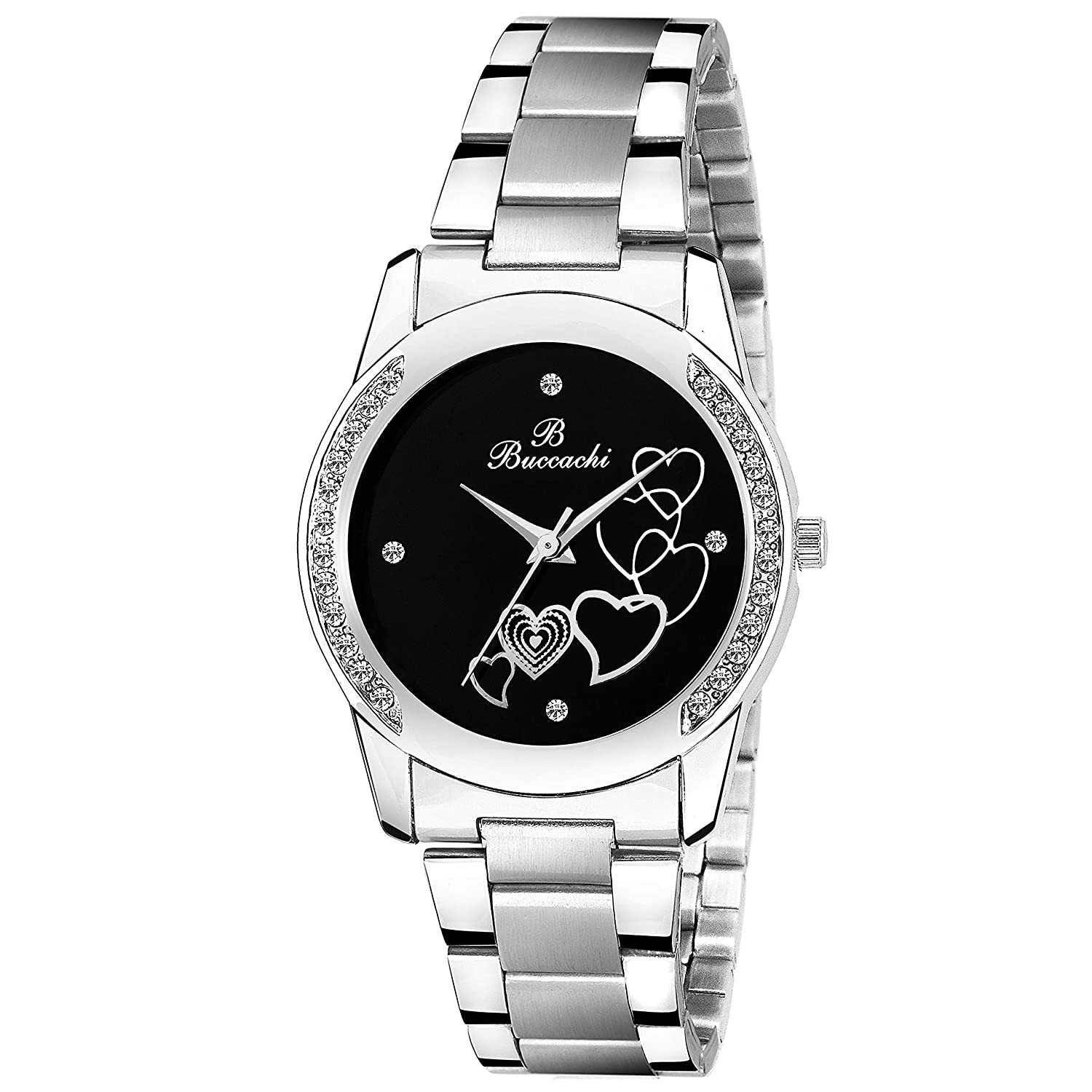 Buccachi Analogue Black Round Dial Watch for Women's (B-L1032-BK-CH)