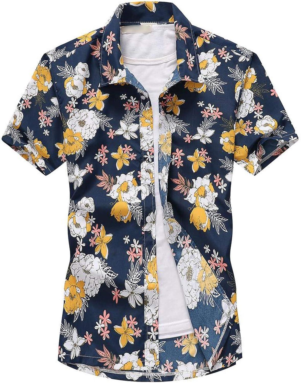 Mens Shirts Tree Printed Short Sleeve Button Down Hawaiian Shirts
