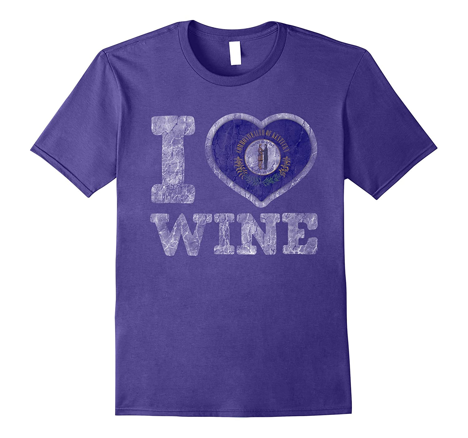 I Love Kentuckian Wine T-Shirt Kentucky Heart Flag-FL
