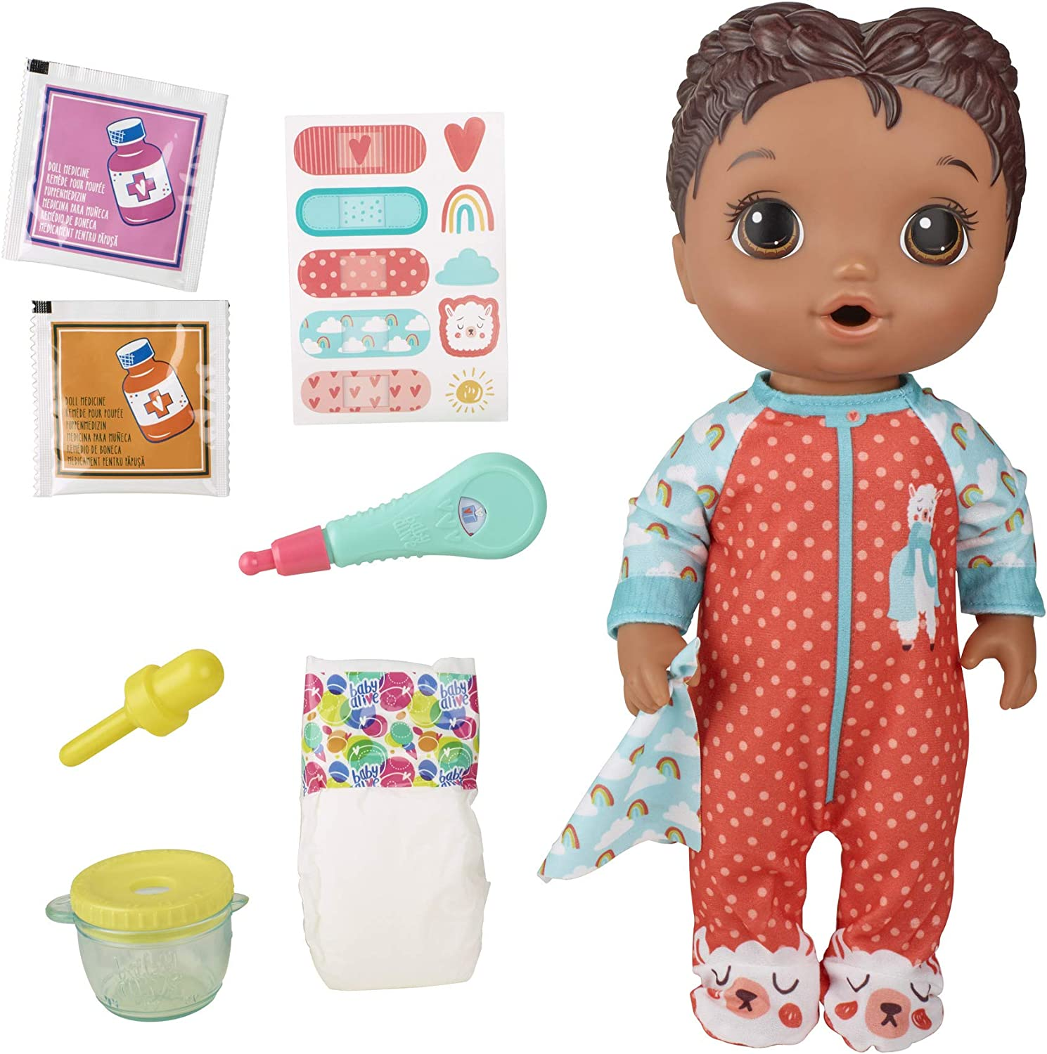 Baby Alive Mix My Medicine Baby Doll, Llama Pyjamas, Drinks and Wets, Doctor Accessories, Black Hair Toy for Children Aged 3 and Up