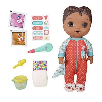Baby Alive Mix My Medicine Baby Doll, Llama Pajamas, Drinks and Wets, Doctor Accessories, Black Hair Toy for Kids Ages 3 and Up: Toys & Games