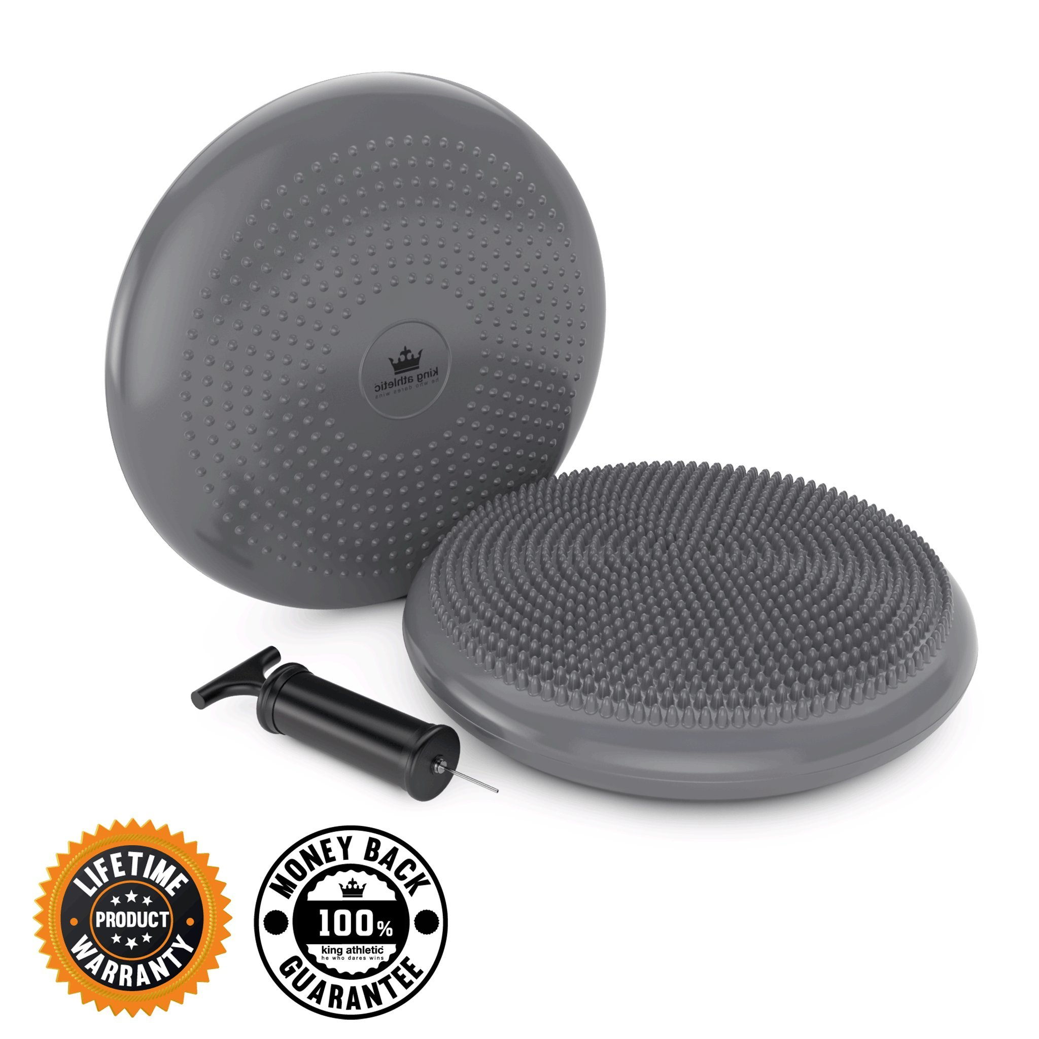 King Athletic Stability Disc :: Balance Air Seat Cushion :: Wobble/Wiggle Chair Sitting Disk for Core Instability Exercise Training :: Instructional eBook Included