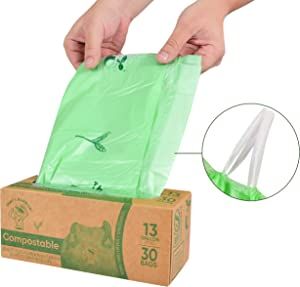 Biodegradable 100% Compostable Drawstring Trash Bags 13 Gallon Garbage 60 Count Strong Thick Waterproof Kitchen Yard Home Office BPI Cert Europe OK San Francisco by That's Rubbish Brand