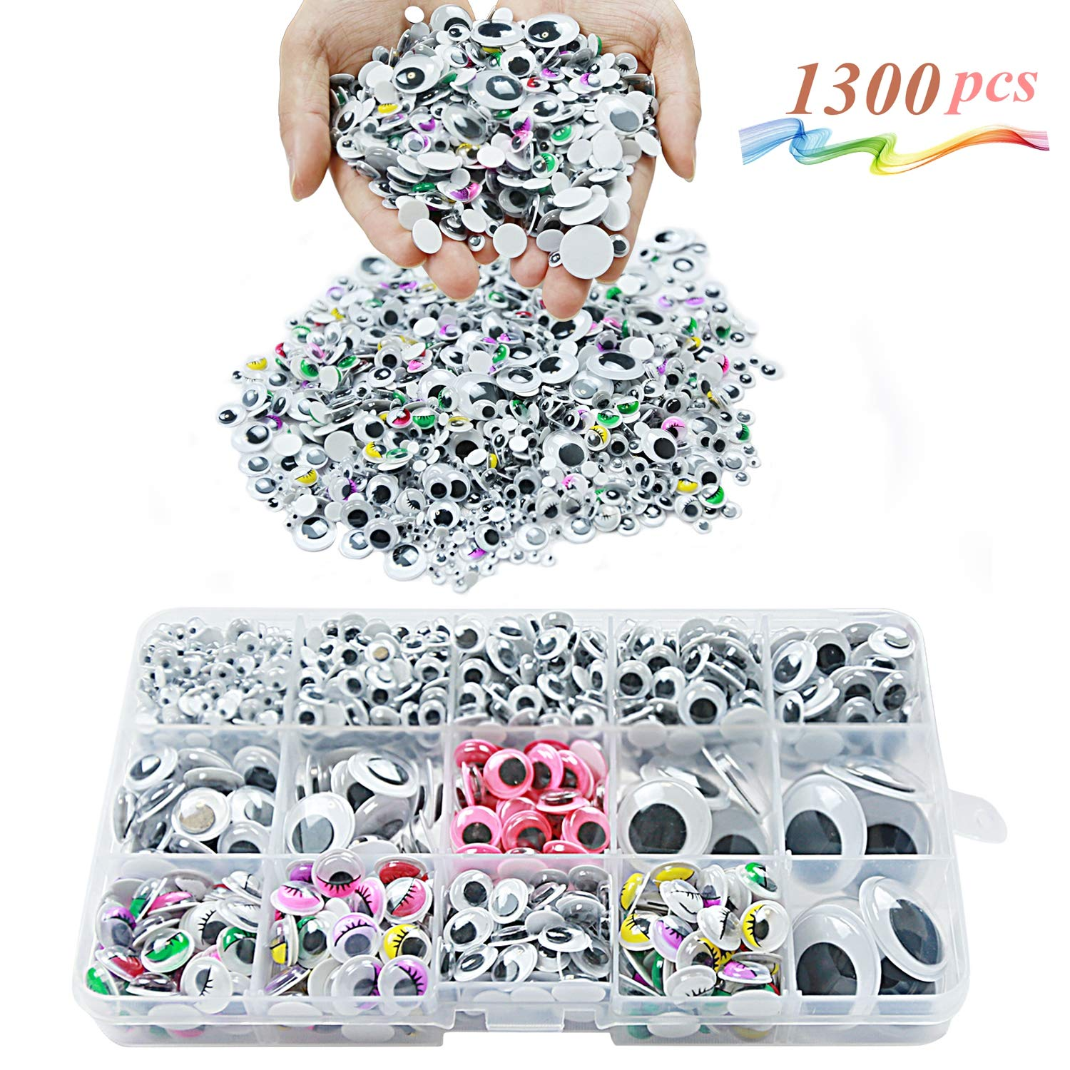 MOZOLAND Googly Wiggle Eyes 1300 Pcs Wiggle Eyes Self Adhesive for Craft Sticker Multiple Colored Size for DIY Animal Creative Crafts Decorations 4336856362