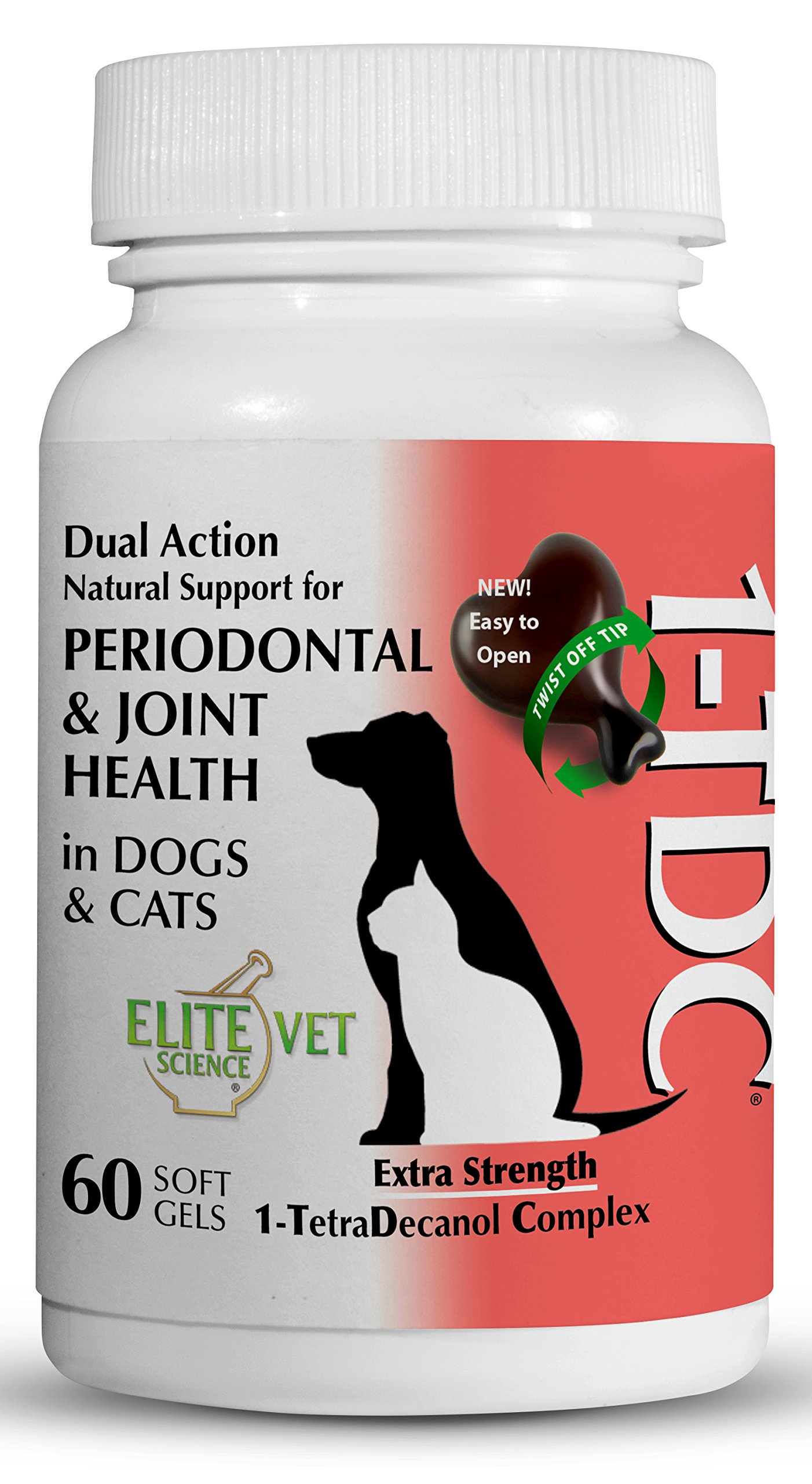 1TDC Dual Action Natural Support – 60 Twist Off Soft Gels | Delivers 4 Major Health Benefits for Dogs & Cats | Supports Oral Health, Hip & Joint Health, Muscle & Stamina Recovery, Skin & Coat Health