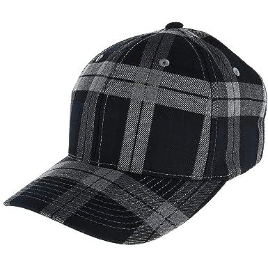 ff6a1c23dee Flexfit Men s Cotton Tartan Plaid Stretch Fit Baseball Hat at Amazon Men s  Clothing store