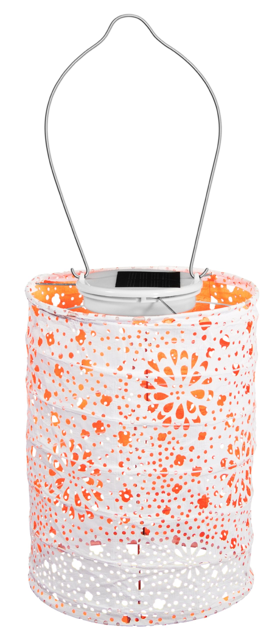 Allsop Home and Garden Soji Stella Neon LED Outdoor Solar Lantern, Handmade with Weather-Resistant UV Rated Tyvek fabric, Stainless Steel Hardware, Auto sensor on/off,  for Patio, Deck, Garden, Color (Neon Orange)