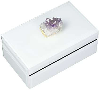 Amazon com: Two's Company Amethyst Geode Hinged Glass/Stone