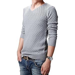 (エムズダイス)M's Dice メンズ Vネック ニット セーター 長袖 細身 無地 ニットソー カジュアル リブ 柄編み 春 (11.グレー XS)