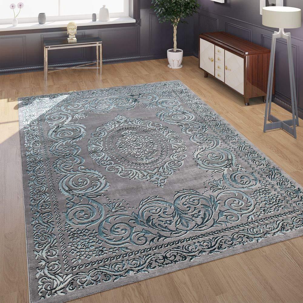 Paco Home Designer Wohnzimmer Teppich 3D Optik Orientalisches Muster In Grau Türkis, Grösse 200x290 cm B07KPH4W7J Teppiche