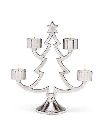 Amazon Com Silver Metal Christmas Tree Outline Votive 4 Candles