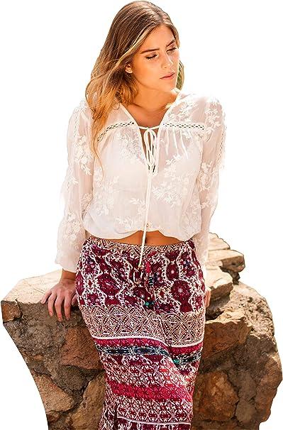 SEGALA Bohemia de Cintura Alta Hippie con Flores Falda Larga Verano para  Mujer  Amazon.es  Ropa y accesorios e9fe5400afb9