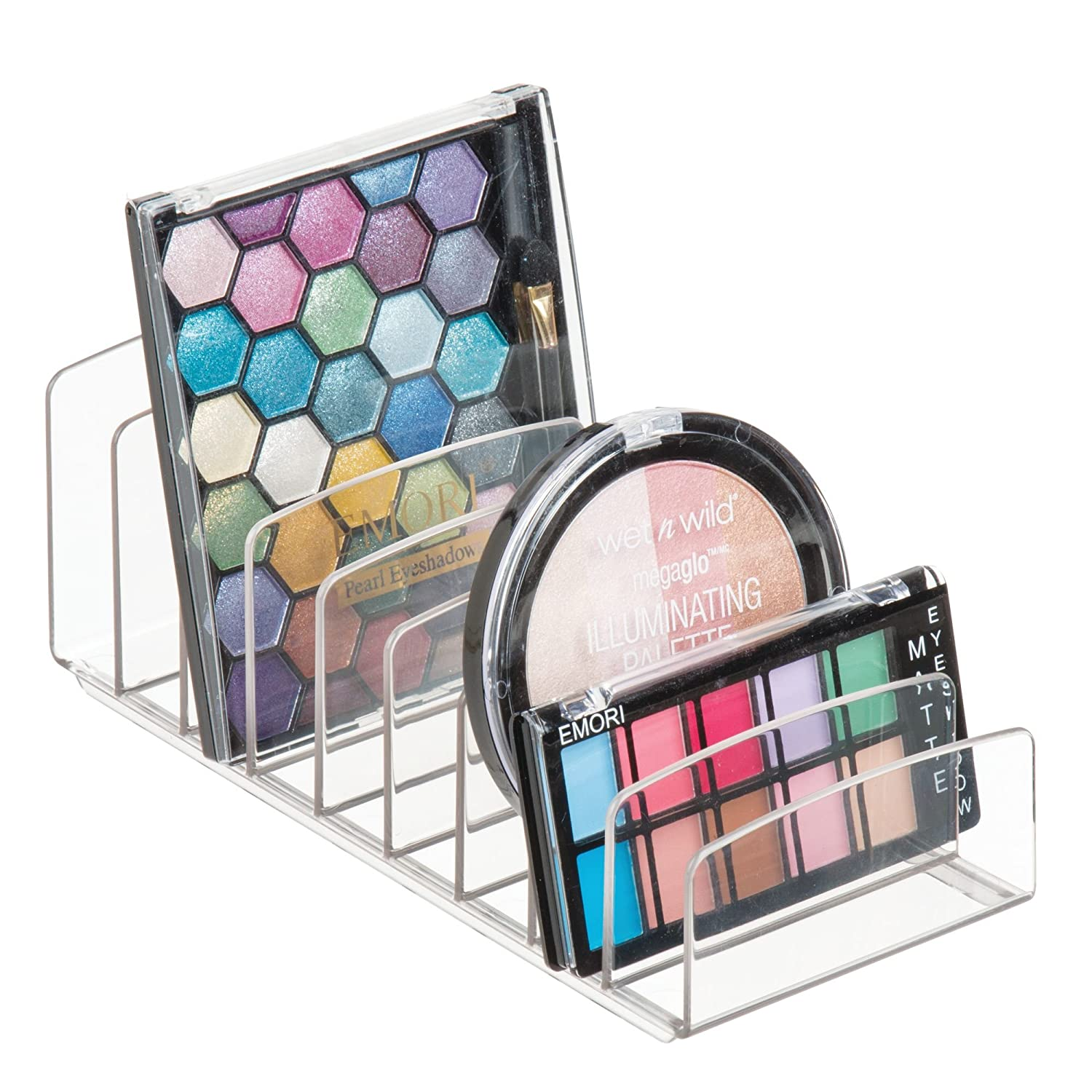 "InterDesign Clarity Vertical Plastic Palette Organizer for Storage of Cosmetics, Makeup, and Accessories on Vanity, Countertop, or Cabinet, 9.25"" x 3.86"" x 3.20"","
