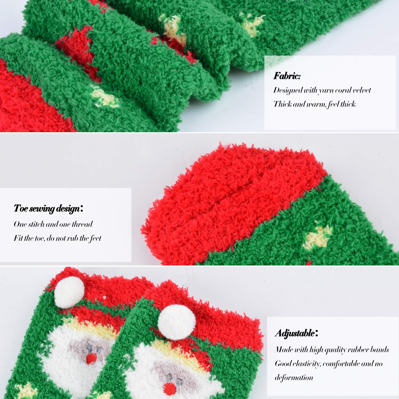 ZOYLINK Calcetines navideños de 4 Pares Calcetines Gruesos Transpirables de Dibujos Animados Lindos para Mujeres
